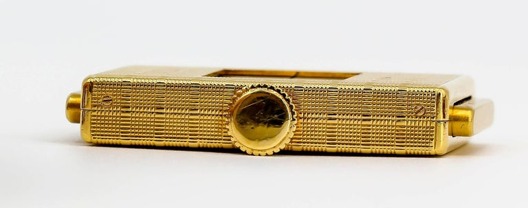 Cartier Yellow Gold Traveling Shutter Mechanical wind Watch Clock For Sale 2