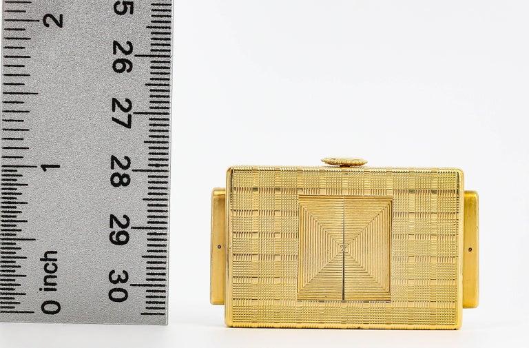 Cartier Yellow Gold Traveling Shutter Mechanical wind Watch Clock For Sale 3
