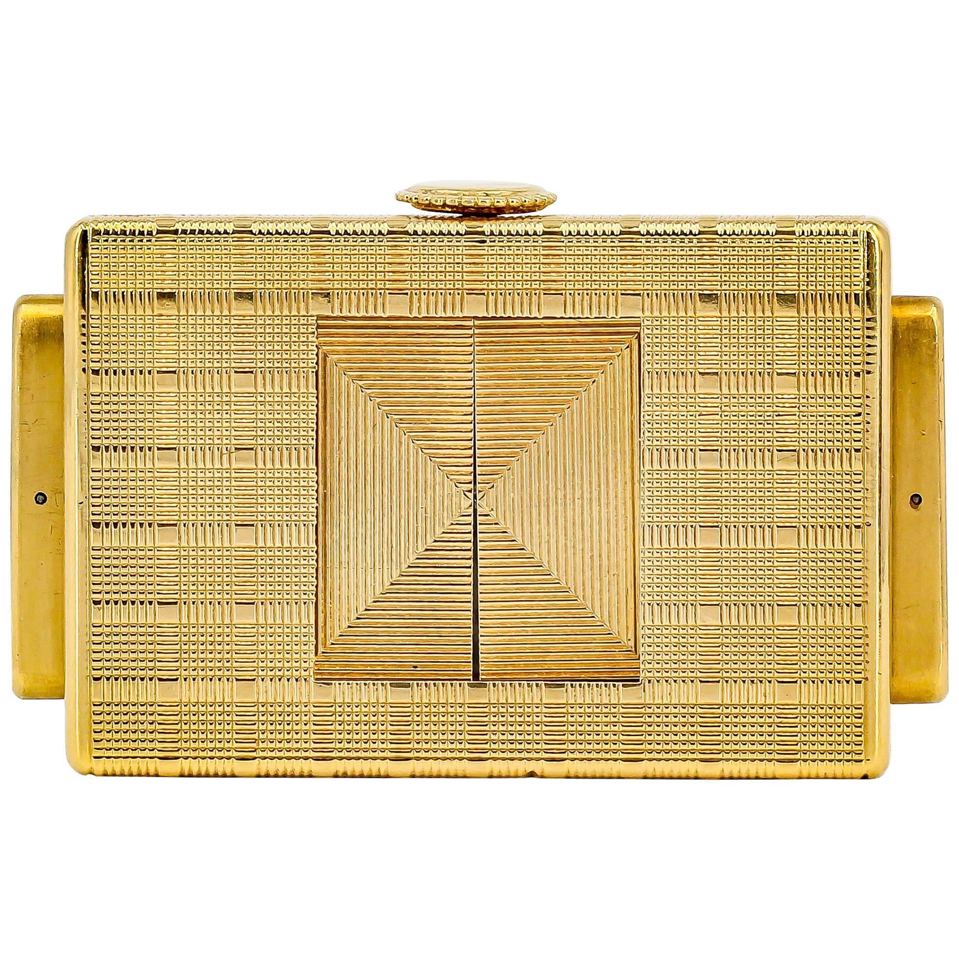 Cartier Yellow Gold Traveling Shutter Mechanical wind Watch Clock