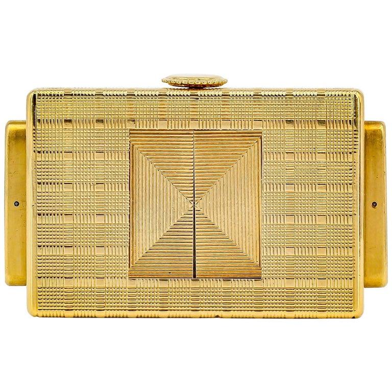 Cartier Yellow Gold Traveling Shutter Mechanical wind Watch Clock For Sale