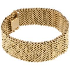 Cartier Yellow Gold Vintage Mesh Bracelet with Harlequin Diamond Pattern