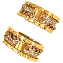 Cartier Yellow Gold Walking Panthere Vintage and Diamond Pierced Hoop Earrings