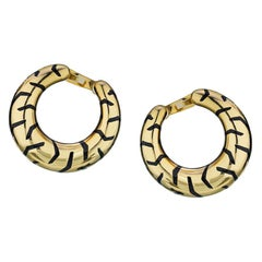 Cartier Yellow Panthere Tiger Stripe Gold Creole-Style Hoop Enamel Earrings