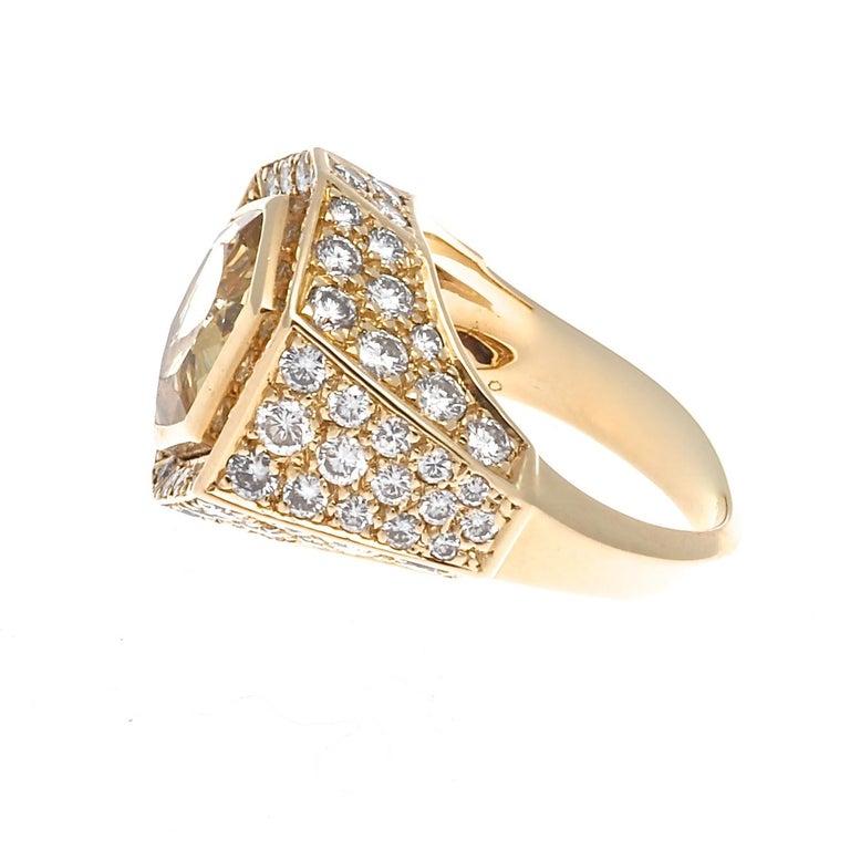 Modern Cartier Yellow Sapphire Diamond Gold Ring For Sale