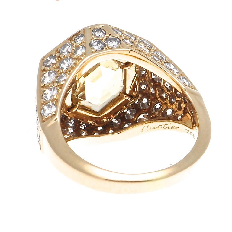 Women's Cartier Yellow Sapphire Diamond Gold Ring For Sale
