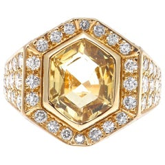 Cartier No Heat Ceylon Yellow Sapphire Diamond Gold Ring