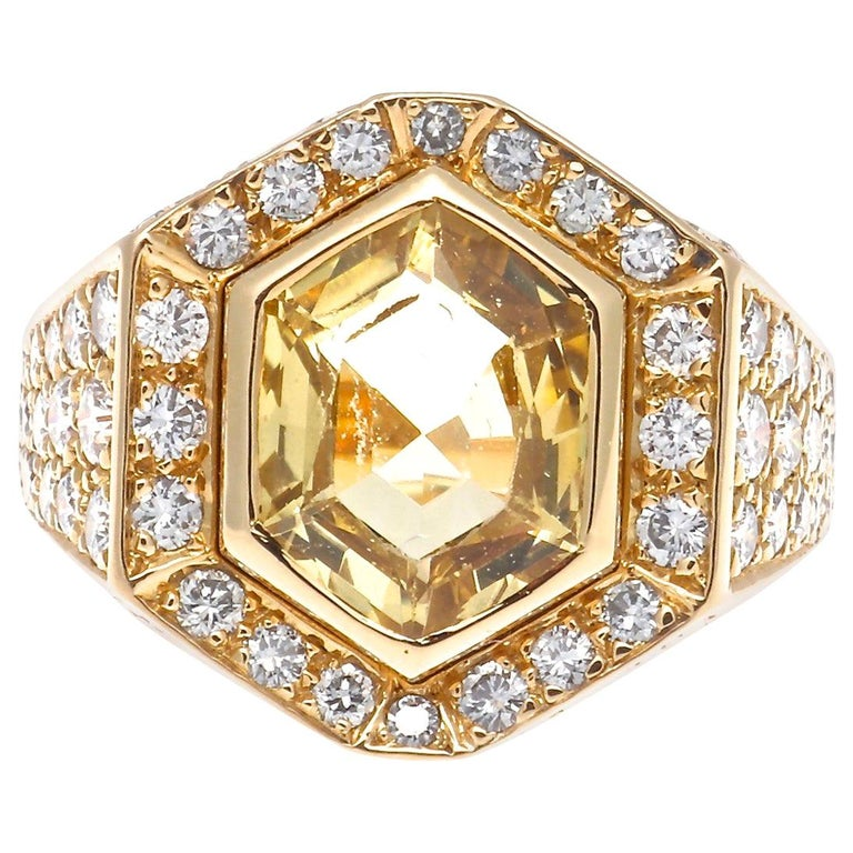 Cartier Yellow Sapphire Diamond Gold Ring For Sale