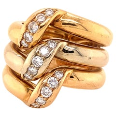 Cartier Yellow White and Rose Gold 18 Karat Tri-Color Diamond Triple Stack Ring