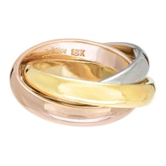 Cartier Yellow White Rose Gold Tri-Color Trinity Ring