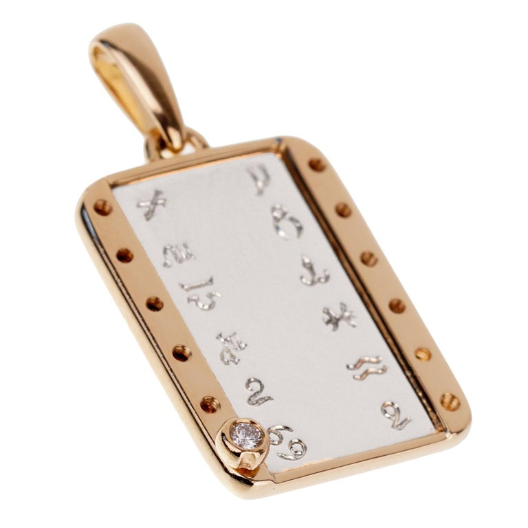 Cartier Zodiac Vintage Diamond Gold Pendant In Excellent Condition For Sale In Feasterville, PA