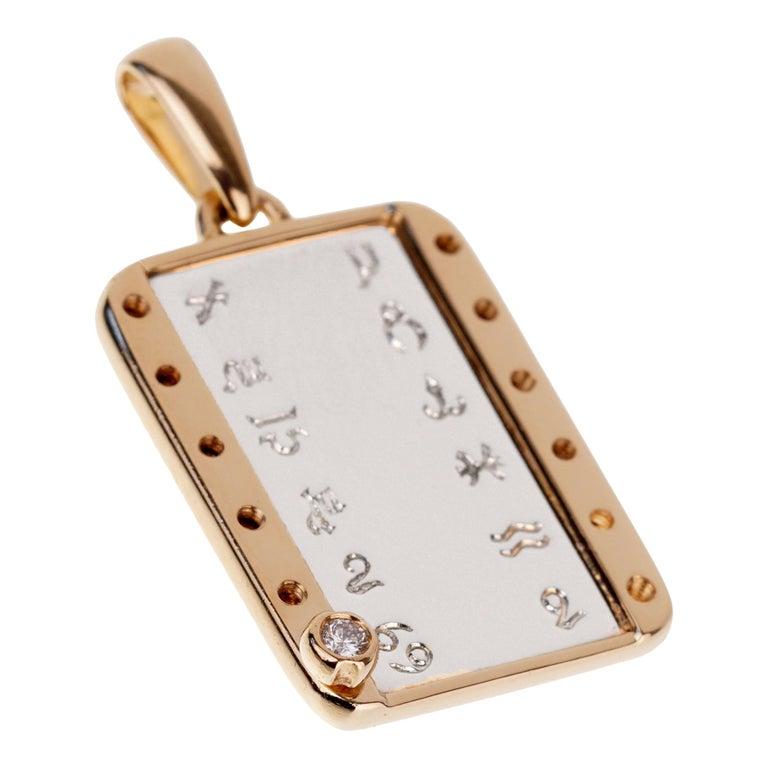 Cartier Zodiac Vintage Diamond Gold Pendant For Sale