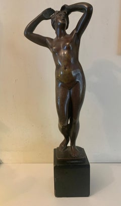 19th century French Bronze of a naked woman standing up.