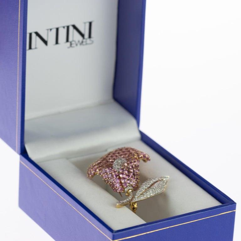 Cartridge Sapphire Flower Diamond Stem Leaf 18 Karat Gold Clip Intini Brooch For Sale 5