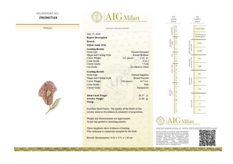Contemporary Cartridge Sapphire Flower Diamond Stem Leaf 18 Karat Gold Clip Intini Brooch For Sale