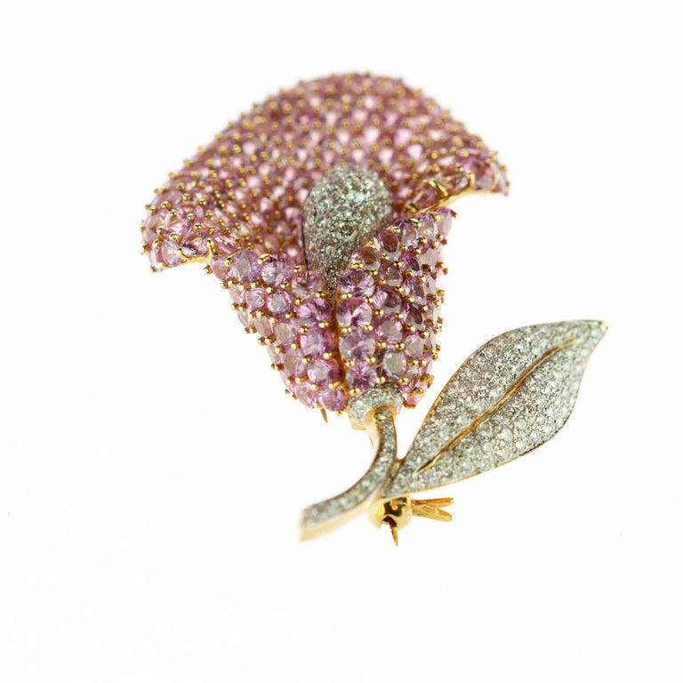 Brilliant Cut Cartridge Sapphire Flower Diamond Stem Leaf 18 Karat Gold Clip Intini Brooch For Sale