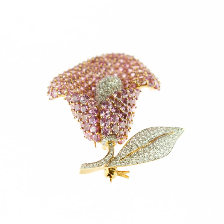 Cartridge Sapphire Flower Diamond Stem Leaf 18 Karat Gold Clip Intini Brooch In New Condition For Sale In Milano, IT
