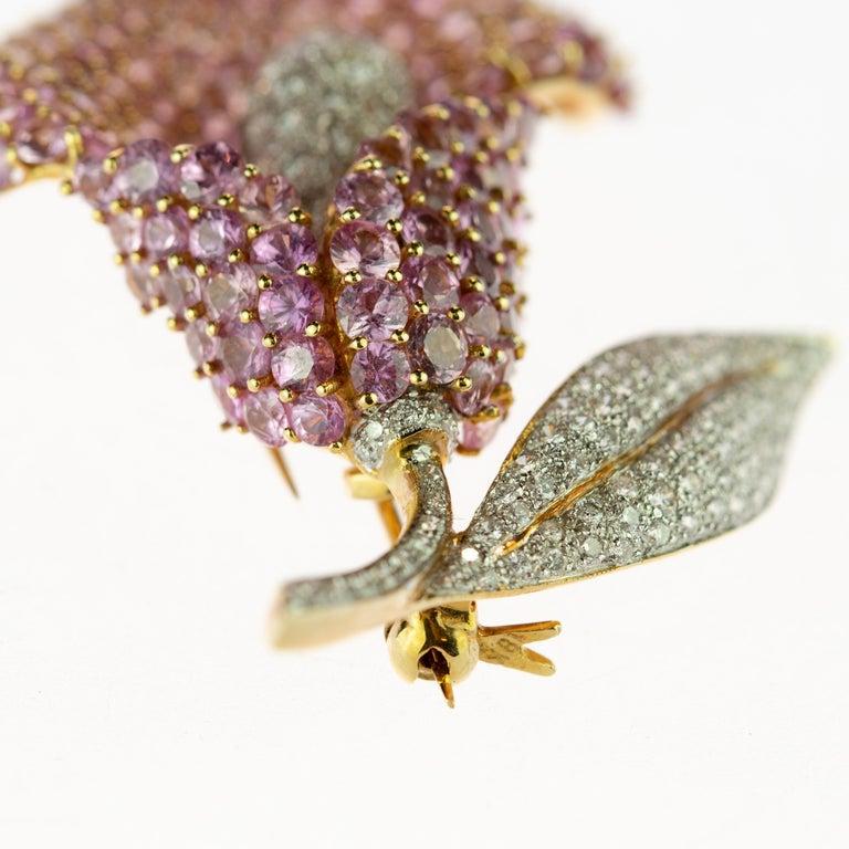 Women's or Men's Cartridge Sapphire Flower Diamond Stem Leaf 18 Karat Gold Clip Intini Brooch For Sale