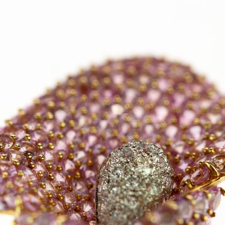 Cartridge Sapphire Flower Diamond Stem Leaf 18 Karat Gold Clip Intini Brooch For Sale 1