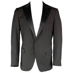 CARUSO 42 Black Solid Wool / Mohair Peak Lapel Tuxedo Suit