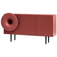 Caruso Large Cabinet in Lacquered Red Marsala and Black Legs, by Paolo Cappello