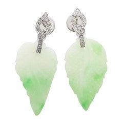 Carve Jade with Diamond Leaf Earrings Set in 18 Karat White Gold Settings