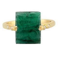 Carved 18 Karat Gold Emerald Diamond Ring
