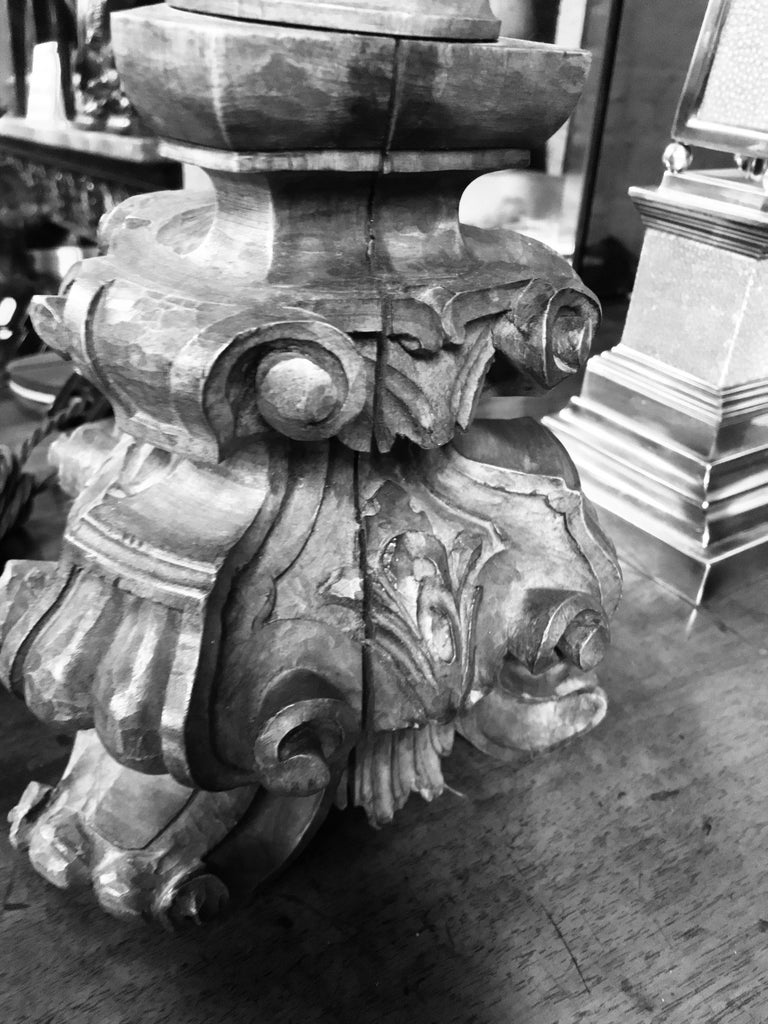 Carved 18th Century Walnut Lamp 3