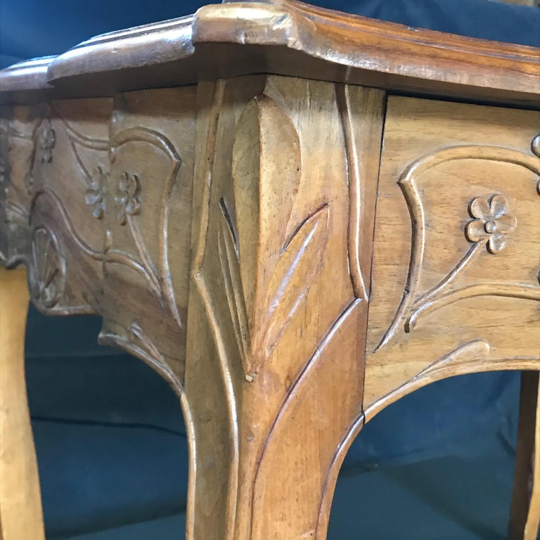 Carved 19th Century Country French Writing Table Desk or Side Table In Good Condition For Sale In Hopewell, NJ