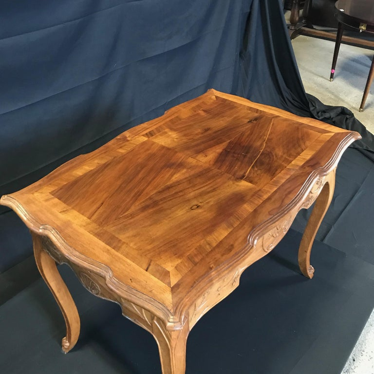 Walnut Carved 19th Century Country French Writing Table Desk or Side Table For Sale