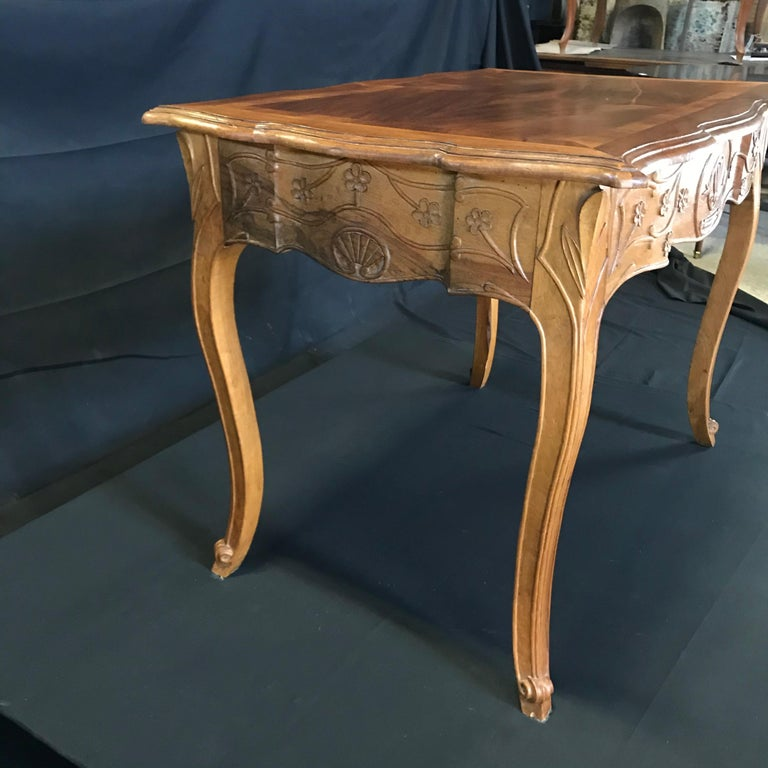 Carved 19th Century Country French Writing Table Desk or Side Table For Sale 1