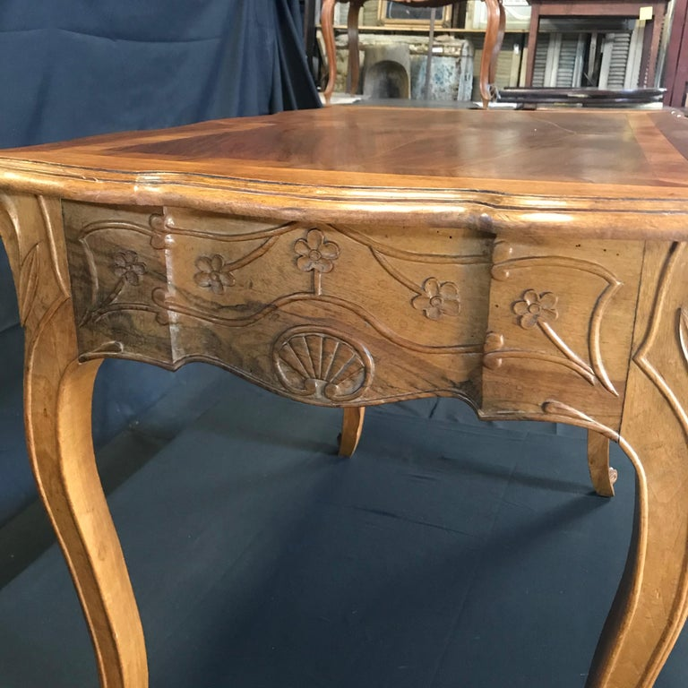 Carved 19th Century Country French Writing Table Desk or Side Table For Sale 2
