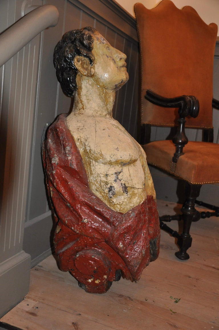 Georgian Carved 19th Century English Ship's Figurehead of a Classical Male For Sale