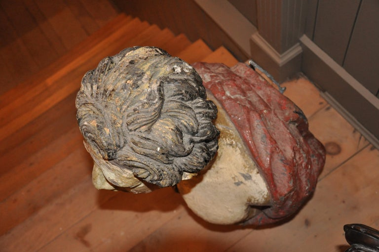 Carved 19th Century English Ship's Figurehead of a Classical Male In Good Condition For Sale In Essex, MA