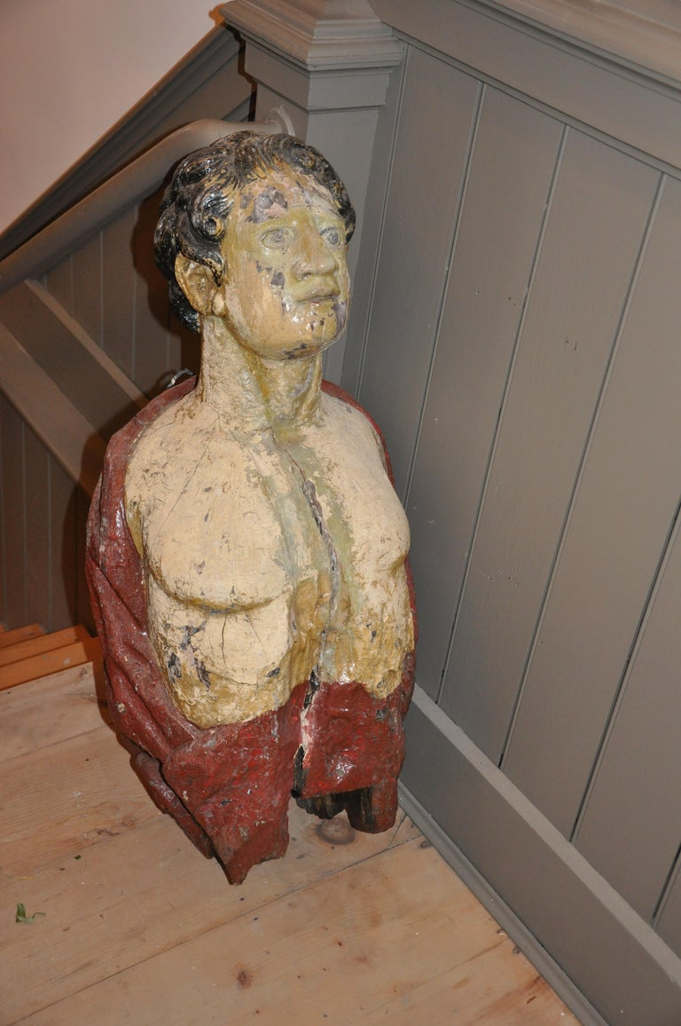 Carved 19th Century English Ship's Figurehead of a Classical Male For Sale 3