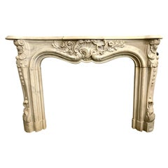 Carved 19th Century French Marble Mantel Mantle Fireplace Chimneypiece