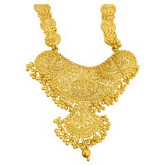 Carved 22 Karat Yellow Gold Indian Necklace