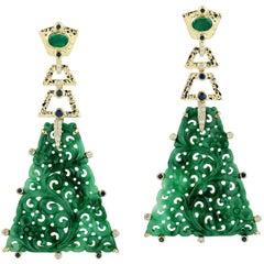 Carved 32.92 Carat Jade Emerald Sapphire Diamond 18 Karat Gold Earrings