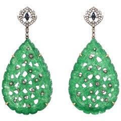 Carved 53.6 Carat Jade Diamond Earrings