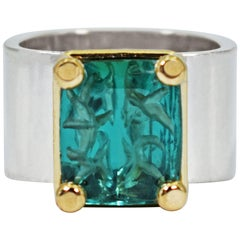 Carved 5.39 Carat Indicolite Tourmaline Two-Tone Cocktail Ring