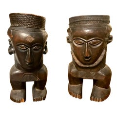 Carved African Figural Urns, Mid-20th Century