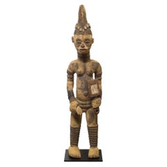Carved African Igbo Standing Figure Mounted on Custom Steel Stand