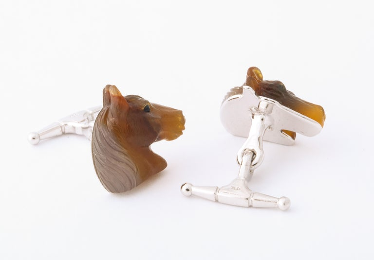 Women's or Men's Carved Agate and Gold Horse Cufflinks For Sale