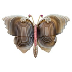Carved Agate Butterfly Brooch with Pink Tourmaline Diamonds Rubies 18 Karat Gold