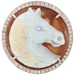 Carved Agate Cameo Horse Diamond Ring