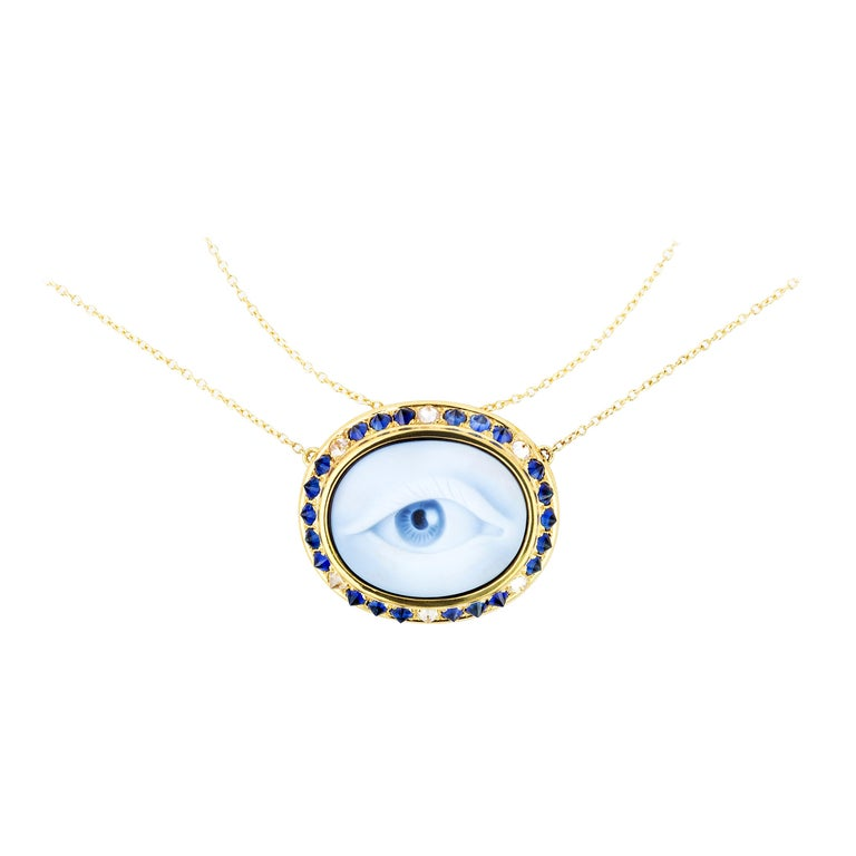 AnaKatarina Carved Agate, Sapphire, Diamond and Yellow Gold Eye Cameo Necklace For Sale