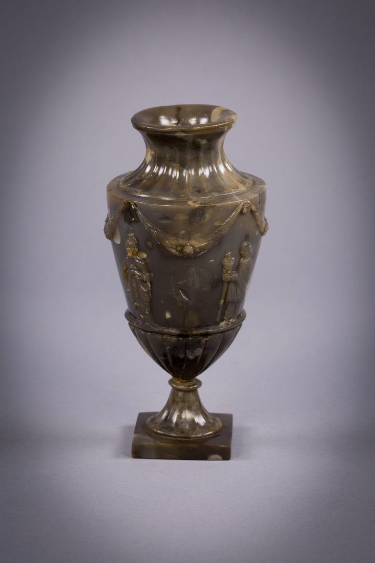 Early 20th Century Carved Agate Vase, circa 1900 For Sale