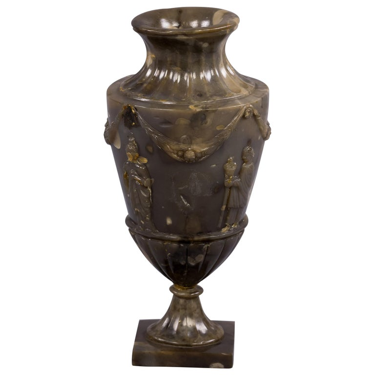 Carved Agate Vase, circa 1900 For Sale