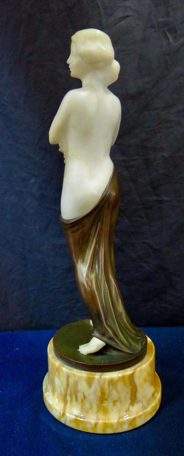 Carved Alabaster & Bronze Art Nouveau Figural Sculpture For Sale 5