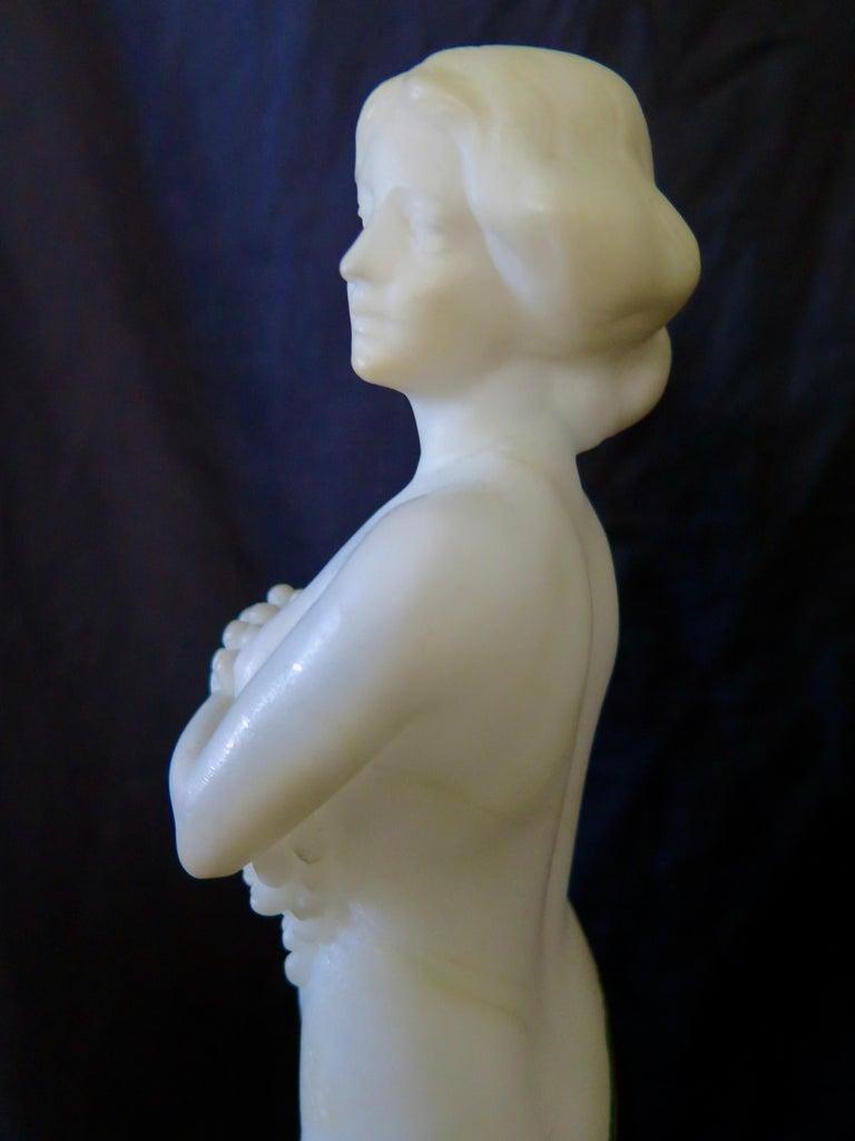 Carved Alabaster & Bronze Art Nouveau Figural Sculpture For Sale 7