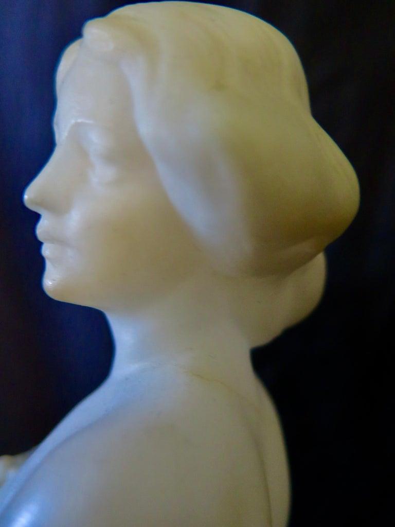 Carved Alabaster & Bronze Art Nouveau Figural Sculpture For Sale 8